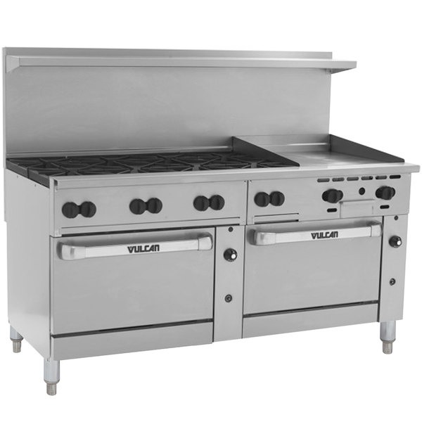 "Vulcan 72SS-8B24GTN Endurance 8 Burner 72"" Natural Gas Thermostatic Range with 24"" Griddle and 2 Standard Ovens - 350,000 BTU"