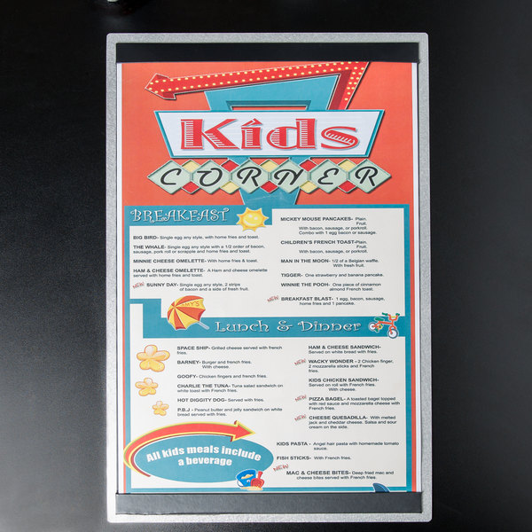 """11"""" x 17"""" Menu Solutions ALSIN17-ST Alumitique Single Panel Brushed Finish Aluminum Menu Board with Top and Bottom Strips"""