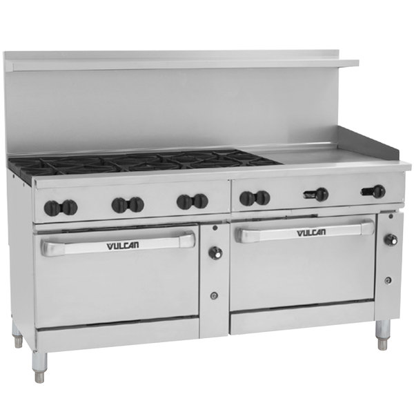 """Vulcan 72SC-8B-24G-P Endurance 8 Burner 72"""" Liquid Propane Manual Range with 24"""" Griddle and One Standard / One Convection Oven - 350,000 BTU"""