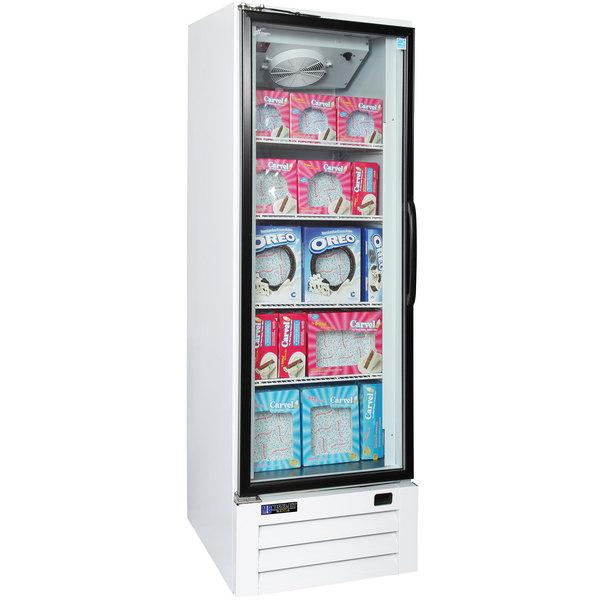 Master Bilt BLG-27-HGP One Section Swing Glass Door White Merchandiser Freezer - 25 Cu. Ft.