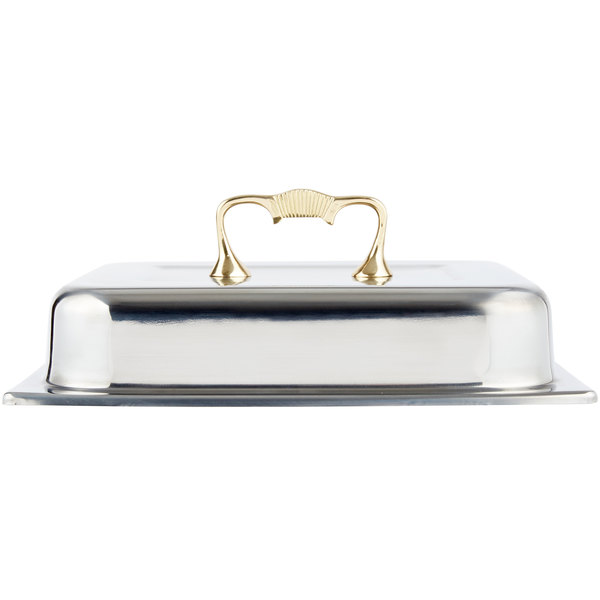 Vollrath 46036 4.1 Qt. Half Size Classic Brass Chafer Cover Main Image 1