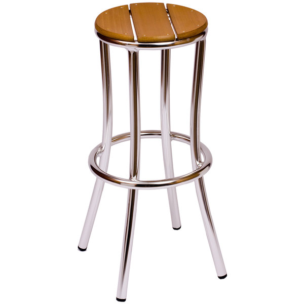 BFM Seating MS6074STKAL Norden Aluminum Outdoor / Indoor Bar Stool with Synthetic Teak Seat  sc 1 st  Webstaurant Store & Seating MS6074STKAL Norden Aluminum Outdoor / Indoor Bar Stool ... islam-shia.org