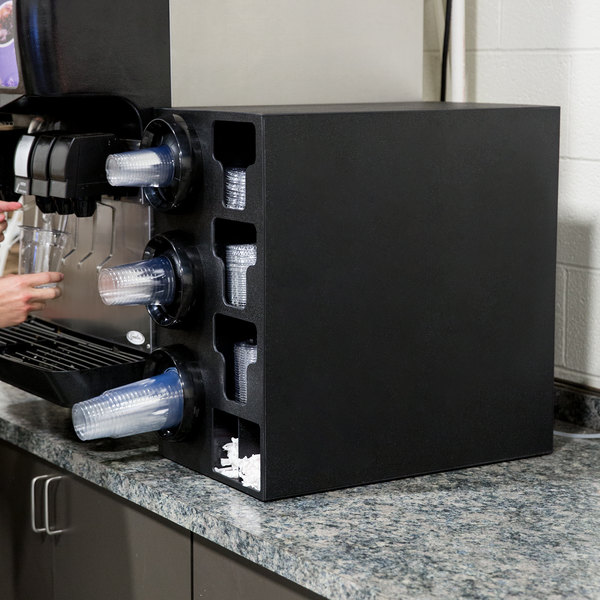 Vollrath G58806 Black 3-Slot 8 - 44 oz. Countertop Cup Dispenser Cabinet with 3 T-Lid Holders and 1 Straw Pocket Main Image 4