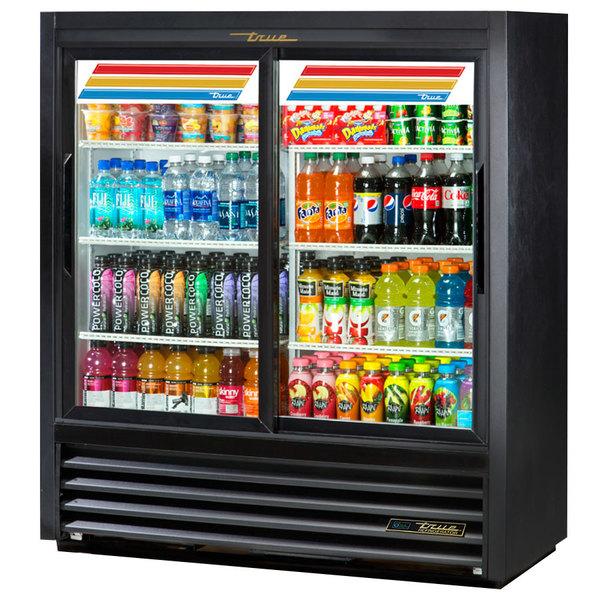 True GDM-41SL-54-LD 47 inch Black Narrow Depth Refrigerated Convenience Store Merchandiser with LED Lighting
