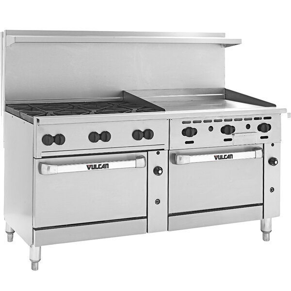 """Vulcan 72SC-6B-36G-P Endurance 6 Burner 72"""" Liquid Propane Manual Range with 36"""" Griddle and One Standard / One Convection Oven - 310,000 BTU Main Image 1"""