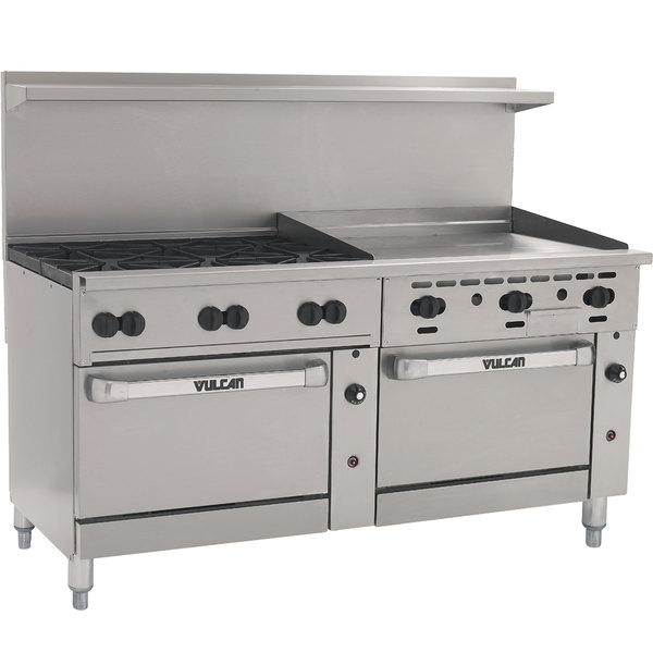 "Vulcan 72SS-6B36GTN Endurance 6 Burner 72"" Natural Gas Thermostatic Range with 36"" Griddle and 2 Standard Ovens - 310,000 BTU"
