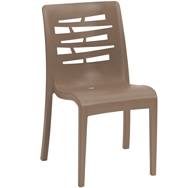 Pack of 4 Grosfillex US218181 / US812181 Essenza Taupe Resin Indoor / Outdoor Stacking Side Chair
