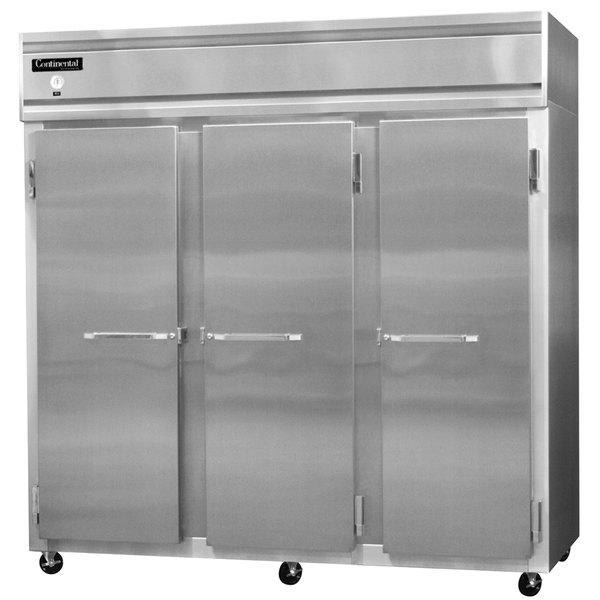 "Continental Refrigerator 3RS-SA 78"" Solid Door Shallow Depth Reach-In Refrigerator - 50 Cu. Ft."
