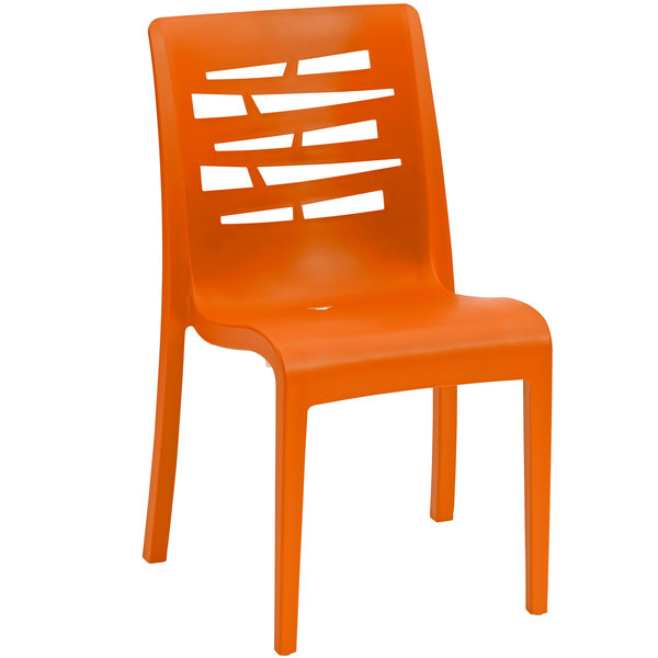 Pack of 4 Grosfillex US218019 / US812019 Essenza Orange Resin Indoor / Outdoor Stacking Side Chair