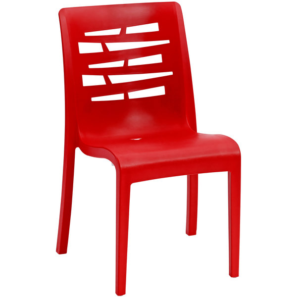 Pack of 4 Grosfillex US218414 / US812414 Essenza Red Resin Indoor / Outdoor Stacking Side Chair