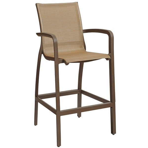 Grosfillex US469599 Sunset Cognac Resin Sling Bar Height Arm Chair with Fusion Bronze Seat - 4/Pack Main Image 1