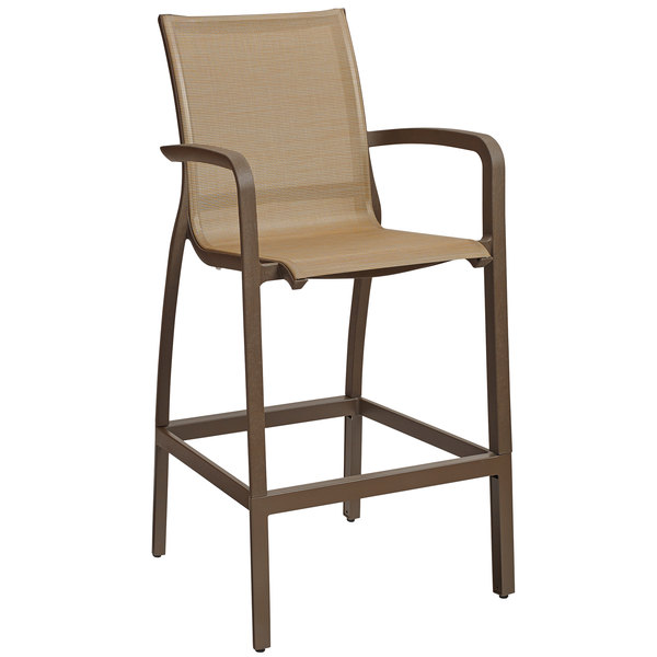 Grosfillex US463599 Sunset Cognac Resin Sling Bar Height Arm Chair With  Fusion Bronze Seat   4/Pack