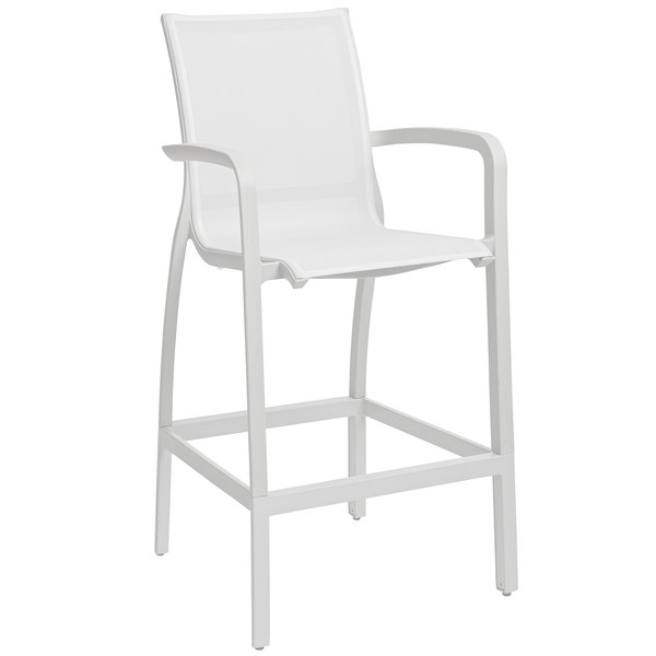 Grosfillex US469096 Sunset White Resin Sling Bar Height Arm Chair with Glacier White Seat - 4/Pack