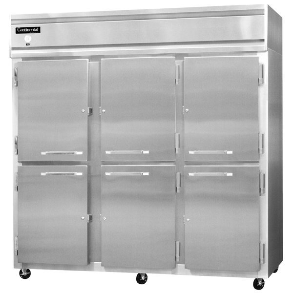 "Continental Refrigerator 3RS-SA-HD 78"" Solid Half Door Shallow Depth Reach In Refrigerator Main Image 1"