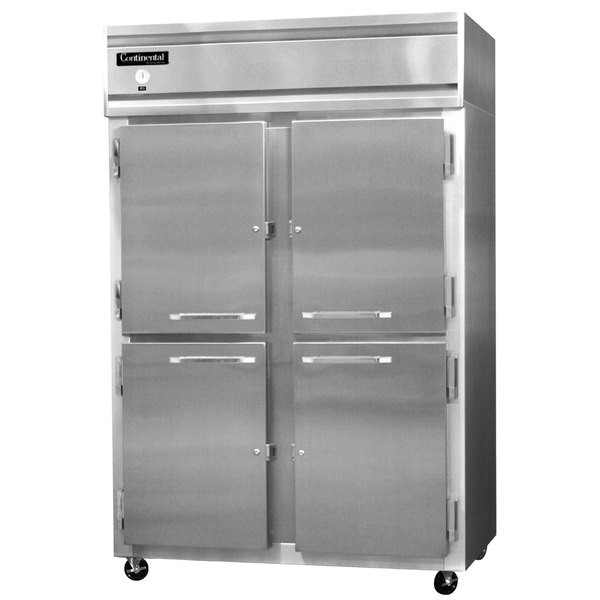 "Continental Refrigerator 2RS-SA-HD 52"" Solid Half Door Shallow Depth Reach In Refrigerator"