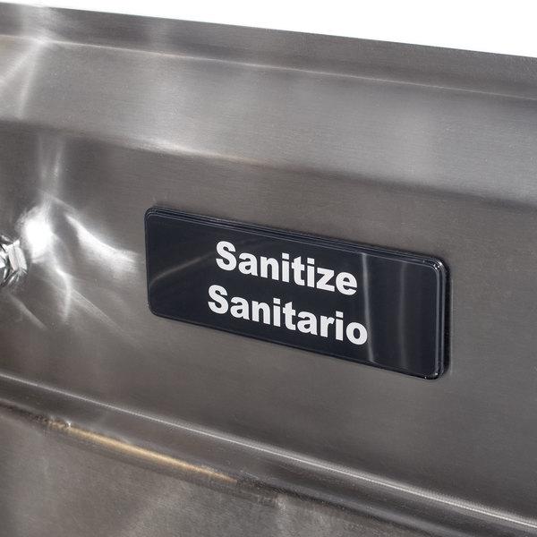 "Tablecraft 394595 Sanitize / Sanitario Sign - Black and White, 9"" x 3"""