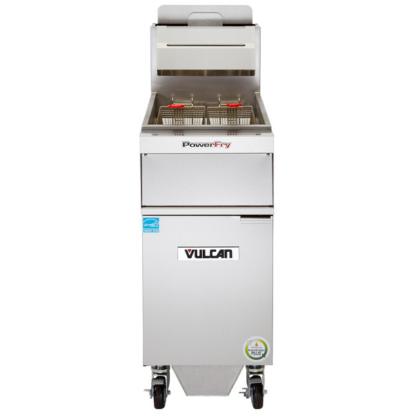 Vulcan 1TR45AF-1 PowerFry3 Natural Gas 45-50 lb. Floor Fryer with Solid State Analog Controls and KleenScreen Filtration - 70,000 BTU