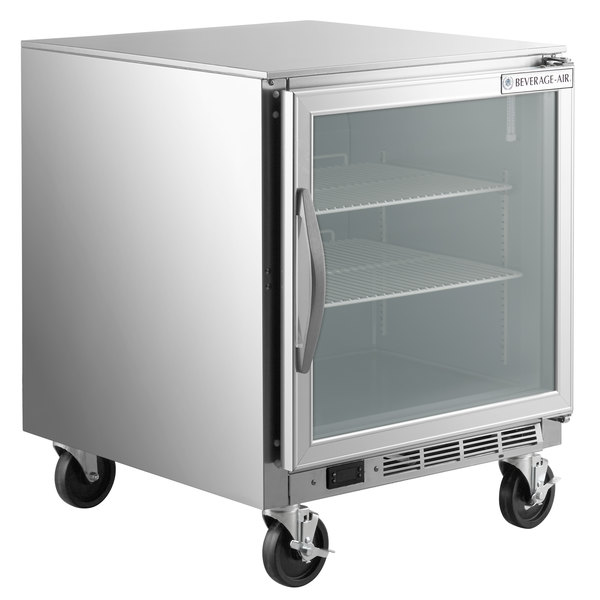 """Beverage-Air UCR27A-25-LED 27"""" Compact Undercounter Refrigerator with Glass Door and LED Lighting"""