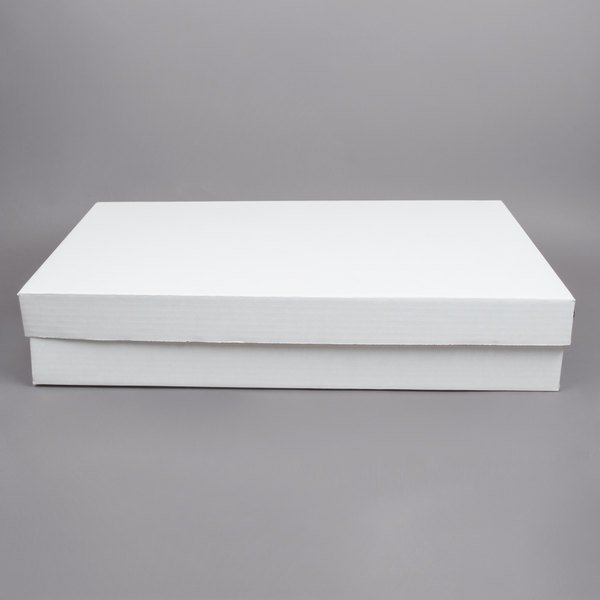 """28"""" x 18"""" x 5"""" White Corrugated Full Sheet Cake / Bakery Box with Lid - 25/Bundle"""