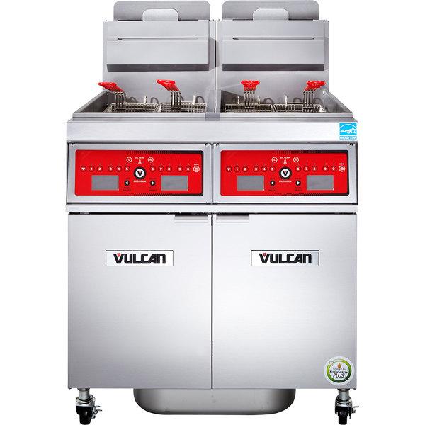 Vulcan 2VK45CF-2 PowerFry5 Liquid Propane 90-100 lb. 2 Unit Floor Fryer System with Computer Controls and KleenScreen Filtration - 140,000 BTU
