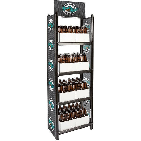four tier merchandiser with bottles