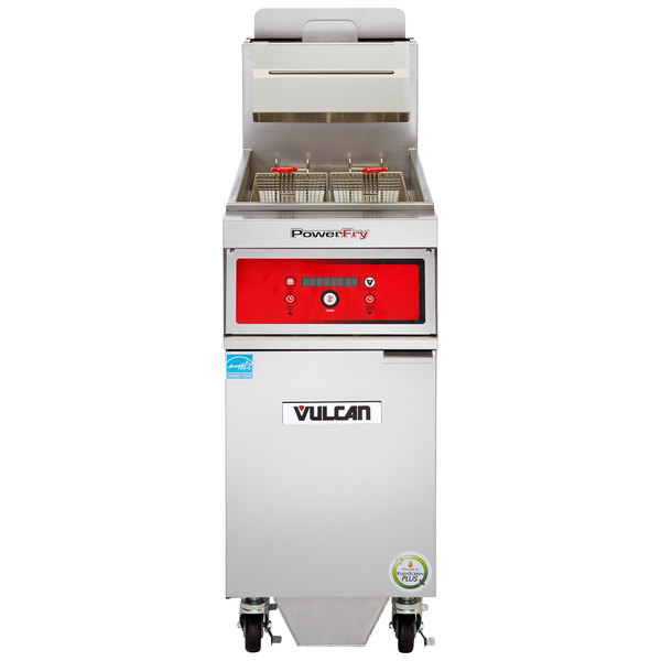 Vulcan 1VK65DF-1 PowerFry5 65-70 lb. Natural Gas Floor Fryer with Solid State Digital Controls and KleenScreen Filtration System - 80,000 BTU