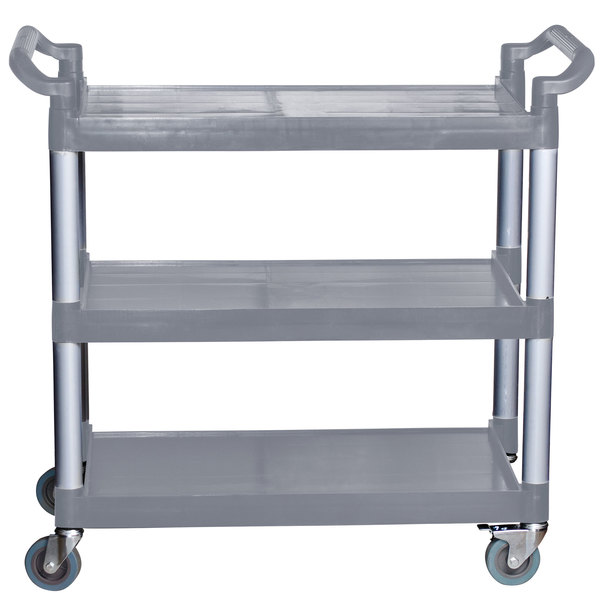 Three Shelf Utility Cart / Bus Cart - Gray 40 1/8 inch x 19 3/4 inch x 37 7/8 inch