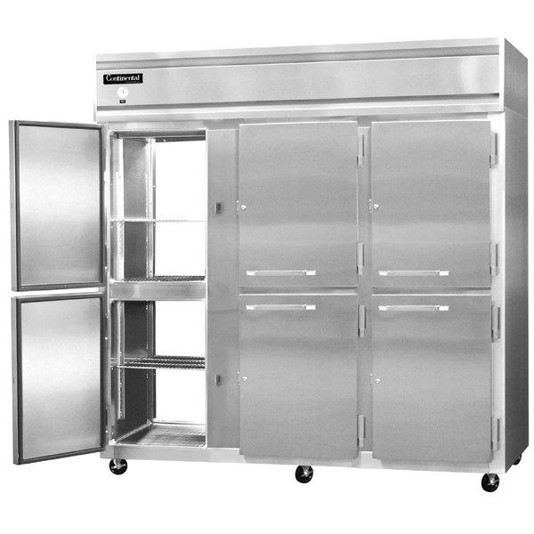 "Continental Refrigerator 3R-SS-PT-HD 78"" Solid Half Door Pass-Through Refrigerator - 70 Cu. Ft."