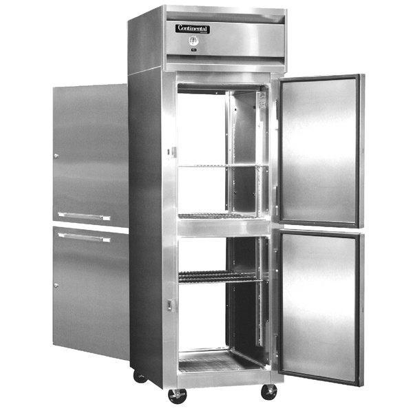 "Continental Refrigerator 1R-PT-HD 26"" Solid Half Door Pass-Through Refrigerator - 20 Cu. Ft."
