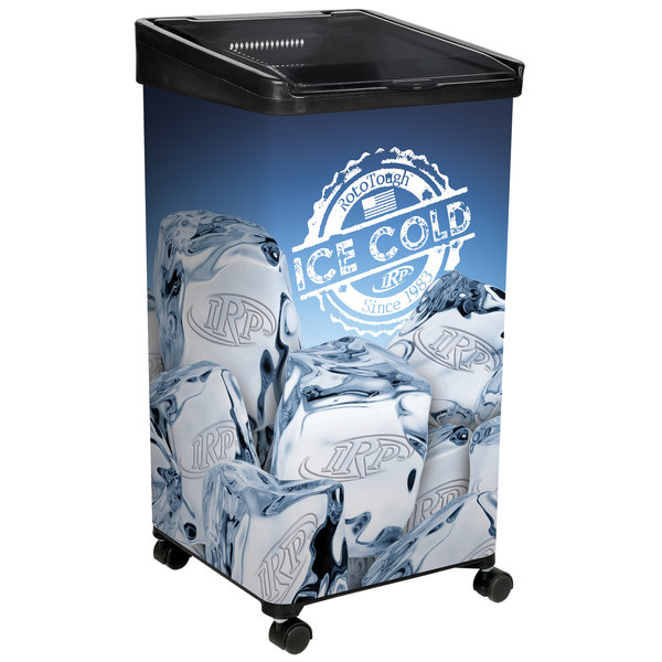 "IRP 32 Qt. Black Micro Mobile Merchandiser / Cooler with LED Light - 16"" x 16"" x 32"""