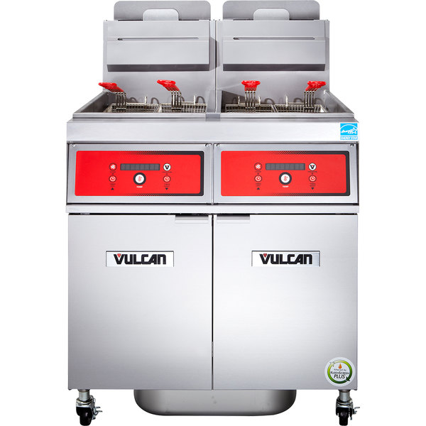 Vulcan 2VK45DF-1 PowerFry5 Natural Gas 90-100 lb. 2 Unit Floor Fryer System with Digital Controls and KleenScreen Filtration - 140,000 BTU