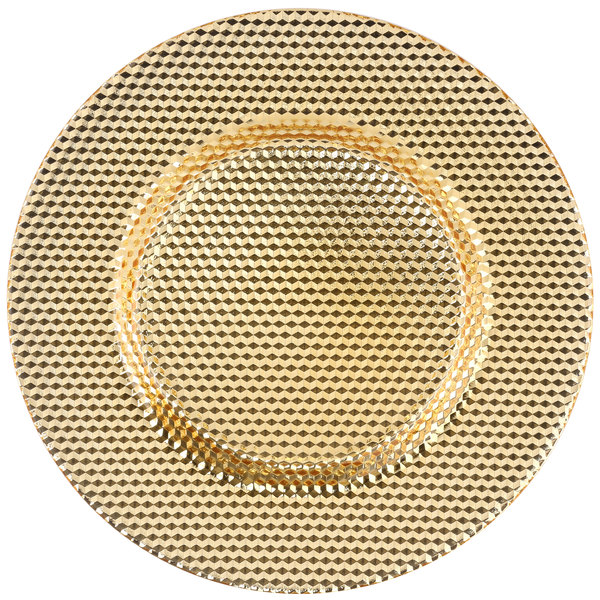 "10 Strawberry Street DECO-340GLD Deco 13"" Gold Porcelain Charger Plate"