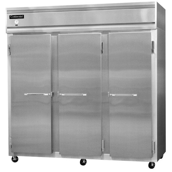 """Continental Refrigerator 3RS-SS 78"""" Solid Door Shallow Depth Reach-In Refrigerator - 50 Cu. Ft."""