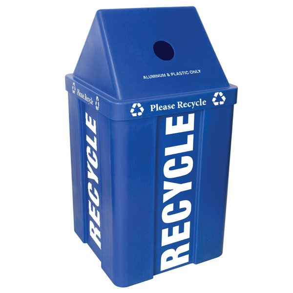 IRP 48 Gallon Blue Stackable Recycling Bin with V-Shaped Lid