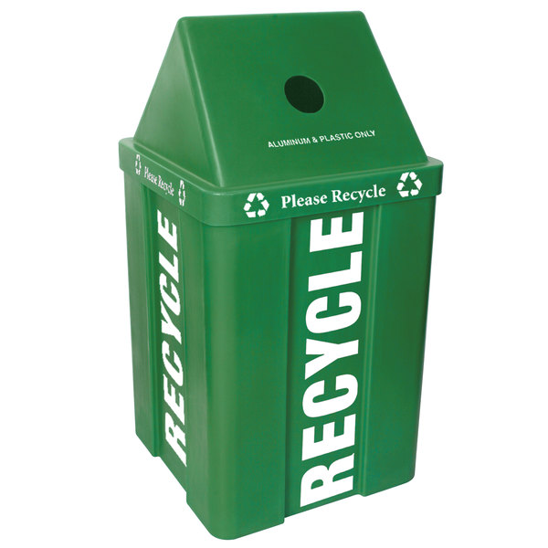 IRP 48 Gallon Green Stackable Recycling Bin with V-Shaped Lid