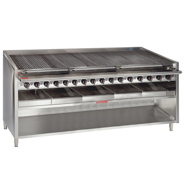 "MagiKitch'n FM-RMB-672CR-NAT 72"" Natural Gas Radiant Charbroiler with Cabinet Base - 240,000 BTU"