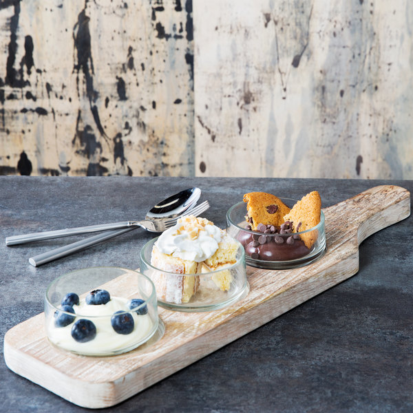 """10 Strawberry Street TELL-4CDMNTRD Telluride 18"""" x 15"""" White Wash Wood Condiment Tray with 3 Round Glass Bowls"""
