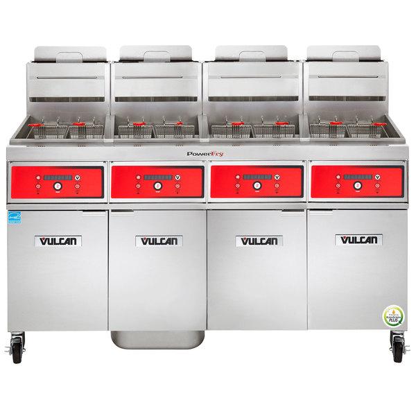 Vulcan 4VK65DF-1 PowerFry5 Natural Gas 260-280 lb. 4 Unit Floor Fryer System with Digital Controls and KleenScreen Filtration - 320,000 BTU