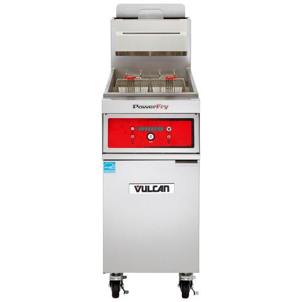Vulcan 1TR45D-2 PowerFry3 Liquid Propane 45-50 lb. Floor Fryer with Solid State Digital Controls - 70,000 BTU