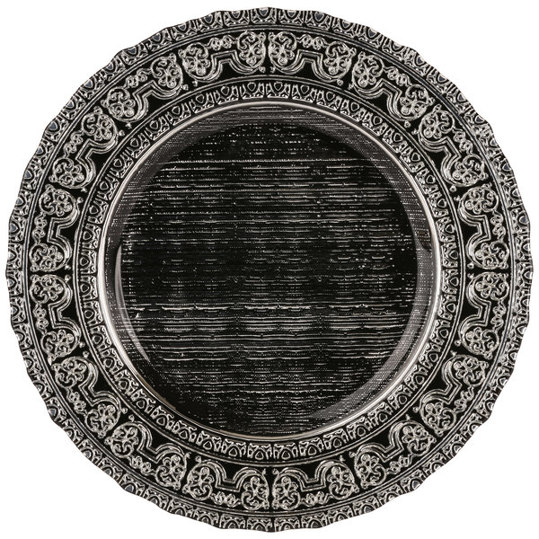 "10 Strawberry Street GRECO-340SLV Greco 13"" Black Silver Porcelain Back Charger Plate"