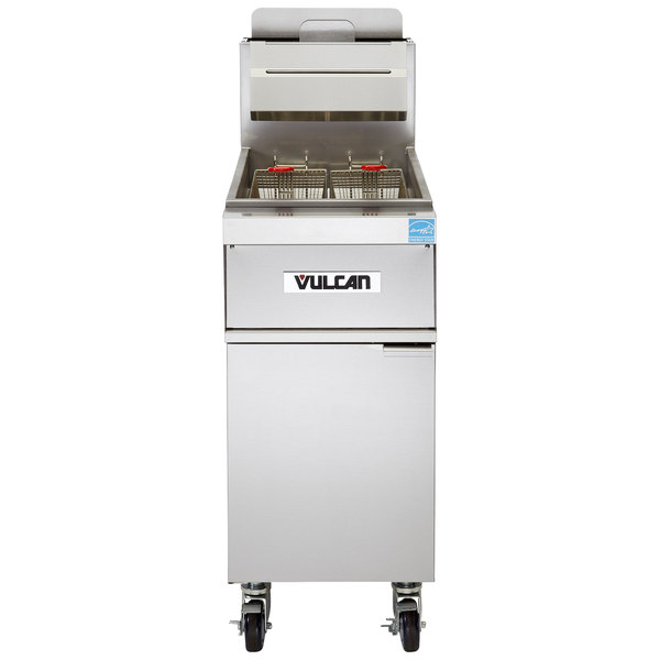 Vulcan 1TR65A-1 PowerFry3 Natural Gas 65-70 lb. Floor Fryer with Solid State Analog Controls - 80,000 BTU