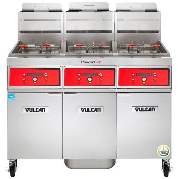 Vulcan 3VK45DF-2 PowerFry5 Liquid Propane 135-150 lb. 3 Unit Floor Fryer System with Digital Controls and KleenScreen Filtration - 210,000 BTU Main Image 1