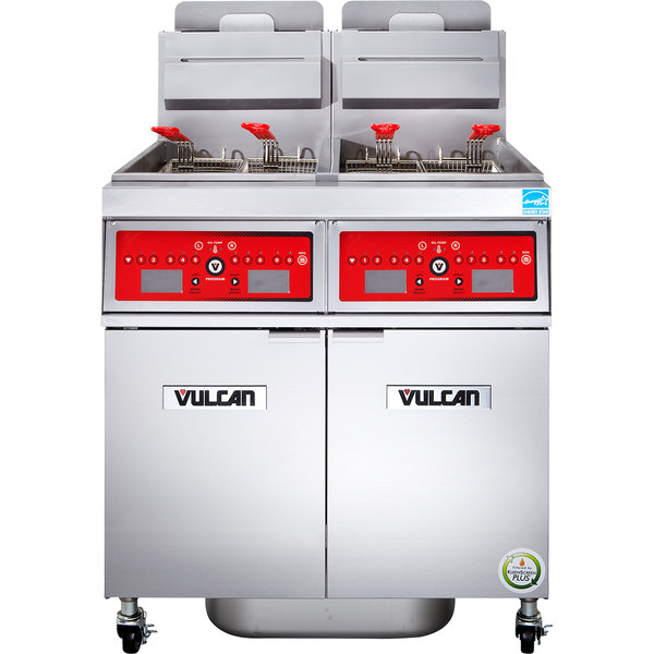Vulcan 2VK85CF-2 PowerFry5 Liquid Propane 170-180 lb. 2 Unit Floor Fryer System with Computer Controls and KleenScreen Filtration - 180,000 BTU