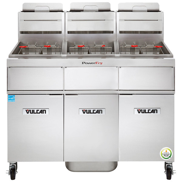 Vulcan 3VK85AF-1 PowerFry5 Natural Gas 255-270 lb. 3 Unit Floor Fryer System with Solid State Analog Controls and KleenScreen Filtration - 270,000 BTU