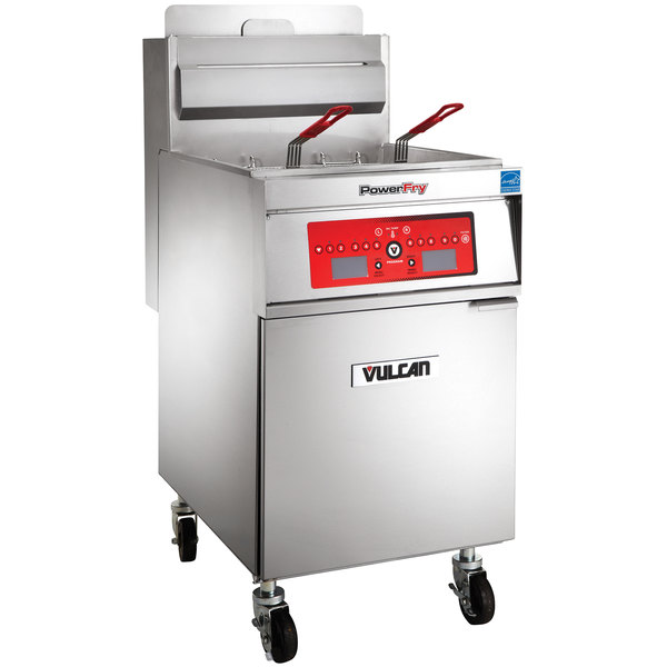 Vulcan 1TR65C-1 PowerFry3 Natural Gas 65-70 lb. Floor Fryer with Computer Controls - 80,000 BTU