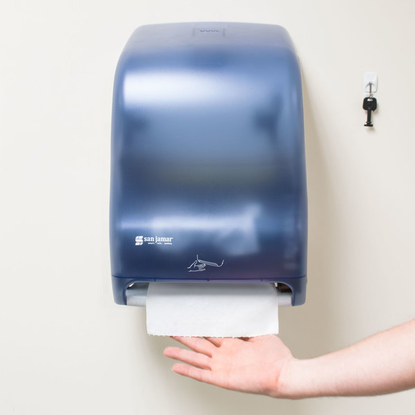 San Jamar T1400TBL Smart System Classic Hands Free Roll Towel Dispenser - Arctic Blue