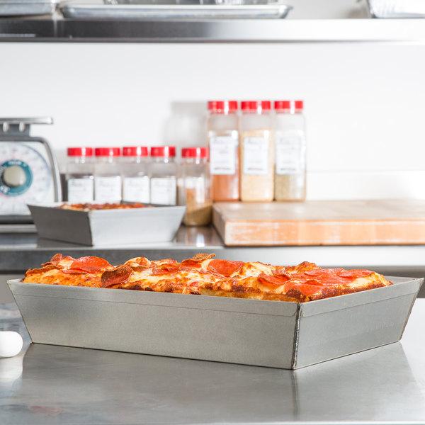 "Chicago Metallic 91014 9 3/4"" x 13 7/8"" Aluminized Steel Rectangular Pizza Pan"