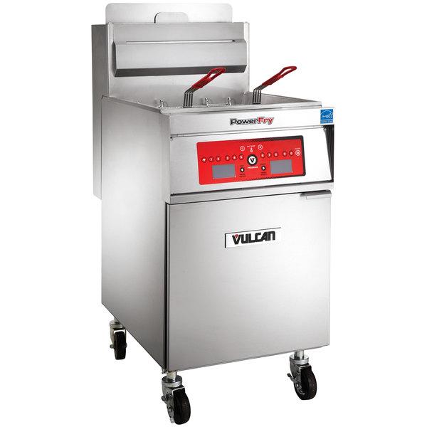 Vulcan 1TR85C-2 PowerFry3 Liquid Propane 85-90 lb. Floor Fryer with Computer Controls - 90,000 BTU