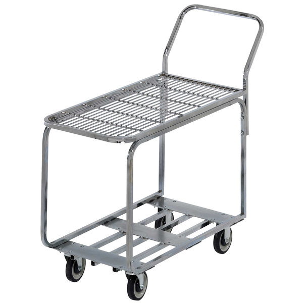 "Channel STKC200 Chrome Plated Steel Stocking Truck with Wire Deck - 44"" x 18 1/2"""