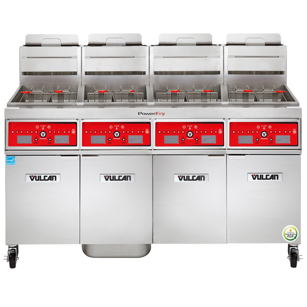 Vulcan 4TR45CF-1 PowerFry3 Natural Gas 180-200 lb. 4 Unit Floor Fryer System with Computer Controls and KleenScreen Filtration - 280,000 BTU